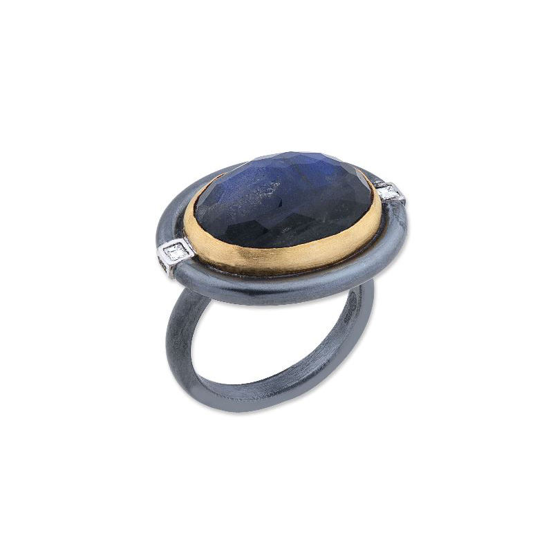 "Lika Behar Tri-Metal Labradorite, Black Onyx and Diamond ""Deck"" Collection Ring"