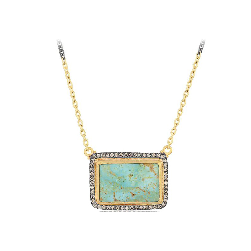 """Lika Behar Two-Metal Turquoise & Champagne Diamond """"My World"""" Collection Necklace"""