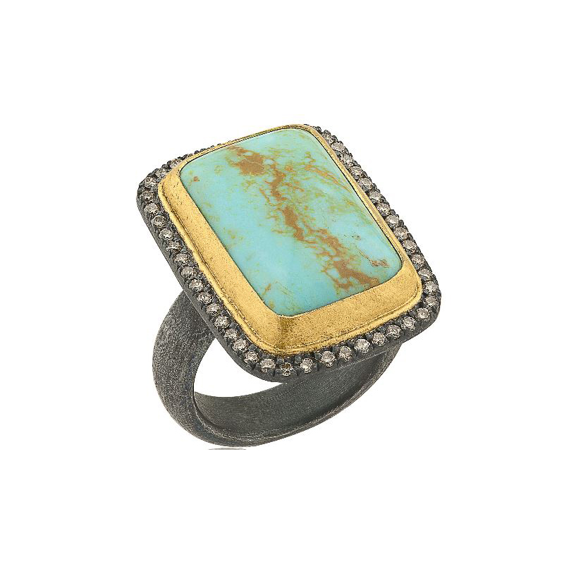 "Lika Behar Two-Metal Turquoise & Champagne Diamond ""My World"" Collection Ring"