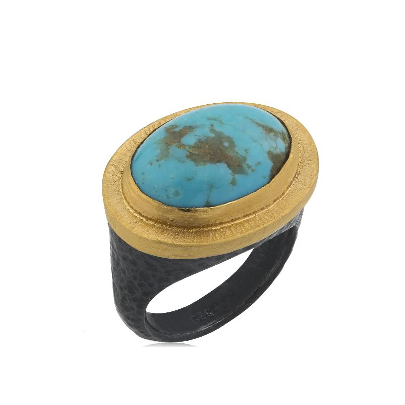 Lika Behar Two-Metal Turquoise Ring