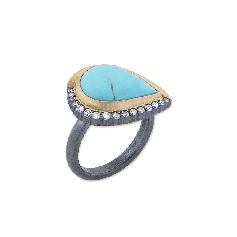 "Lika Behar Two-Metal Turquoise & Diamond ""Luna"" Collection Ring"
