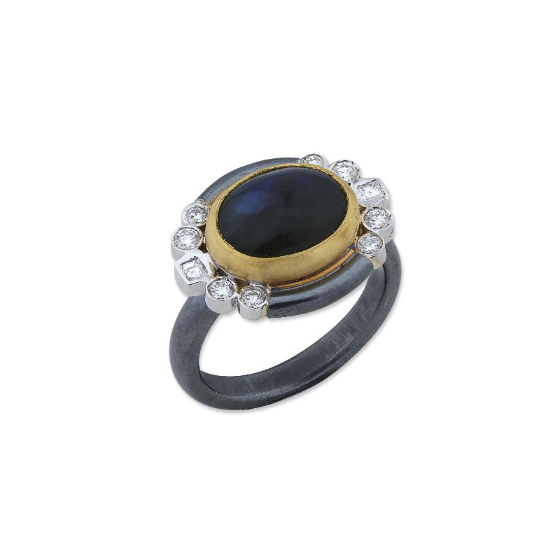 Lika Behar Tri-Metal Labradorite & Diamond Ring