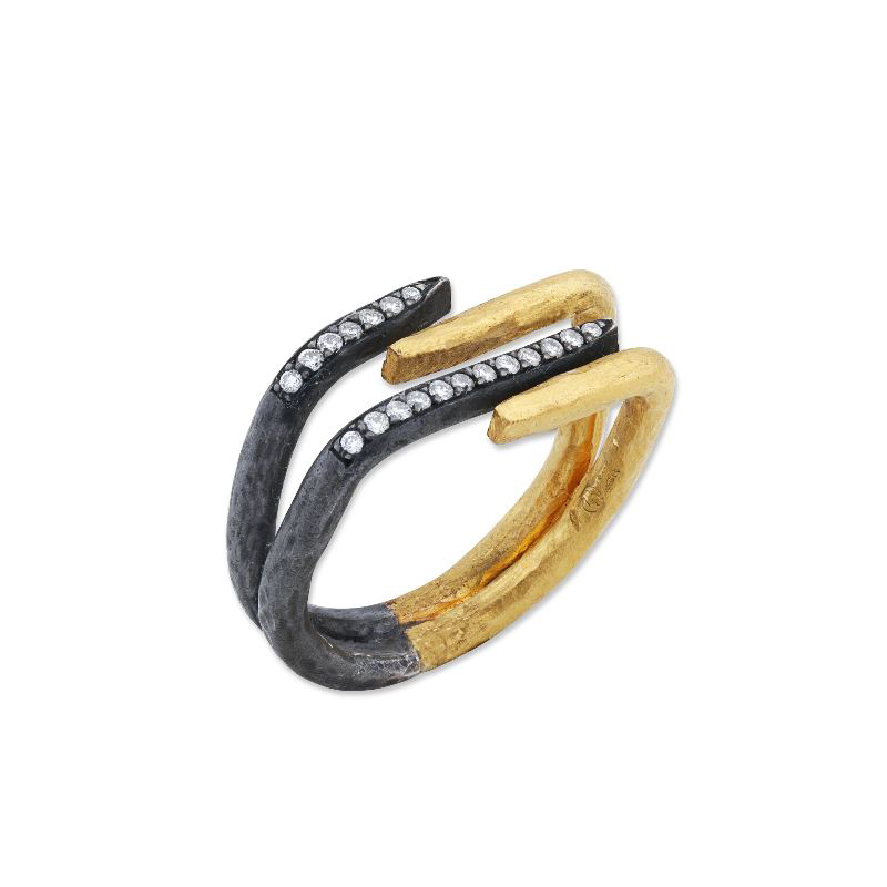 "Lika Behar Two-Metal Diamond ""Zebra"" Collection Ring"