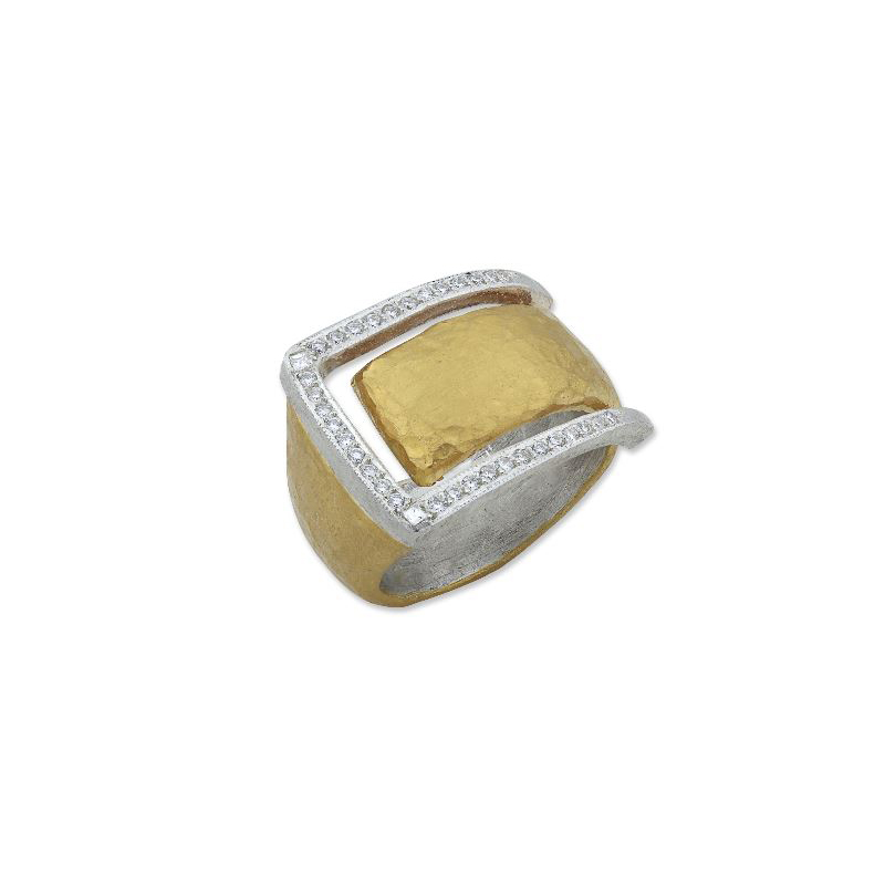 "Lika Behar Two-Metal Diamond ""Deck"" Collection Ring"