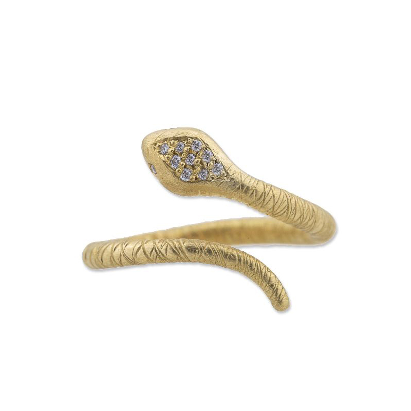 "Lika Behar 24 Karat Yellow Gold Diamond ""Snake"" Collection Ring"