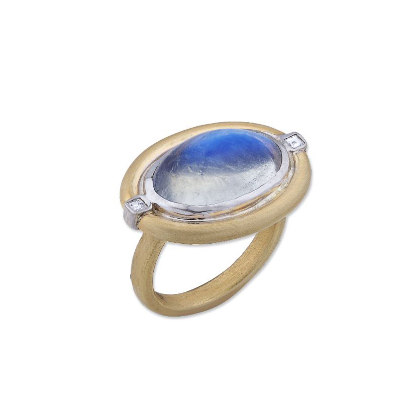 "Lika Behar Two-Metal Moonstone & Diamond ""Moondance"" Collection Ring"