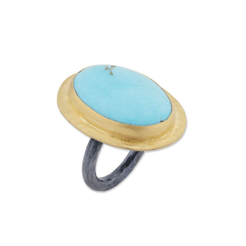 "Lika Behar Two-Metal Turquoise ""Gela"" Collection Ring"