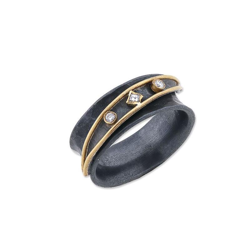 "Lika Behar Two-Metal Diamond ""Inversion"" Collection Ring"