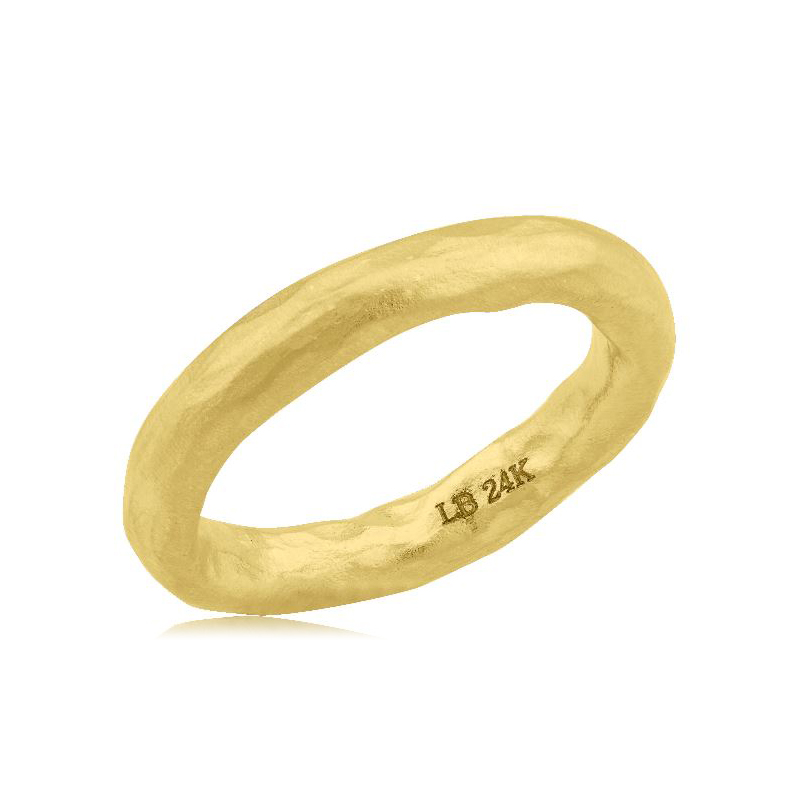 "Lika Behar 24 Karat Yellow Gold ""Hammered"" Collection Pure Love Band"