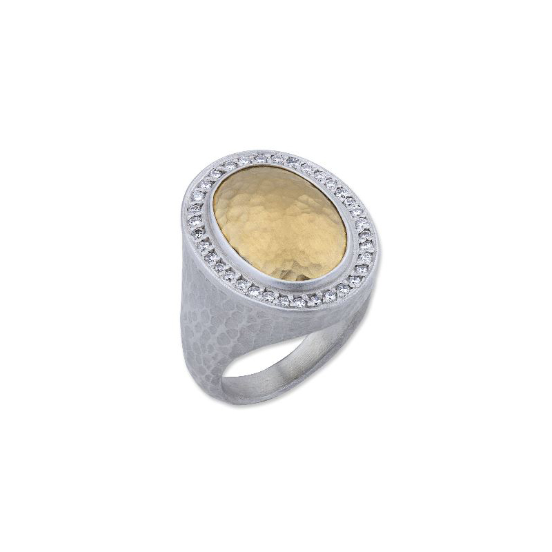 "Lika Behar Two-Metal Diamond ""Pompei"" Collection Ring"