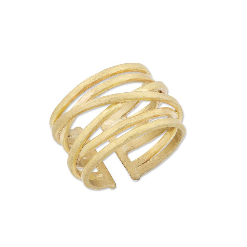 "Lika Behar 22 Karat Yellow Gold ""Stockholm Crosswire"" Collection Ring"