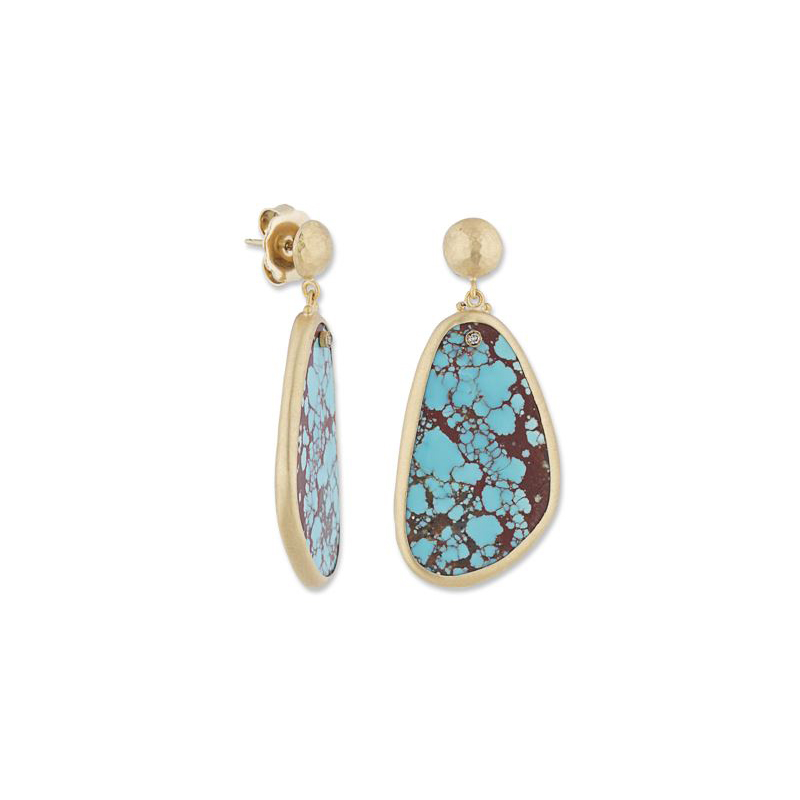 "Lika Behar 22 Karat Yellow Gold Turquoise and Cognac Diamond ""My World"" Collection Earrings"