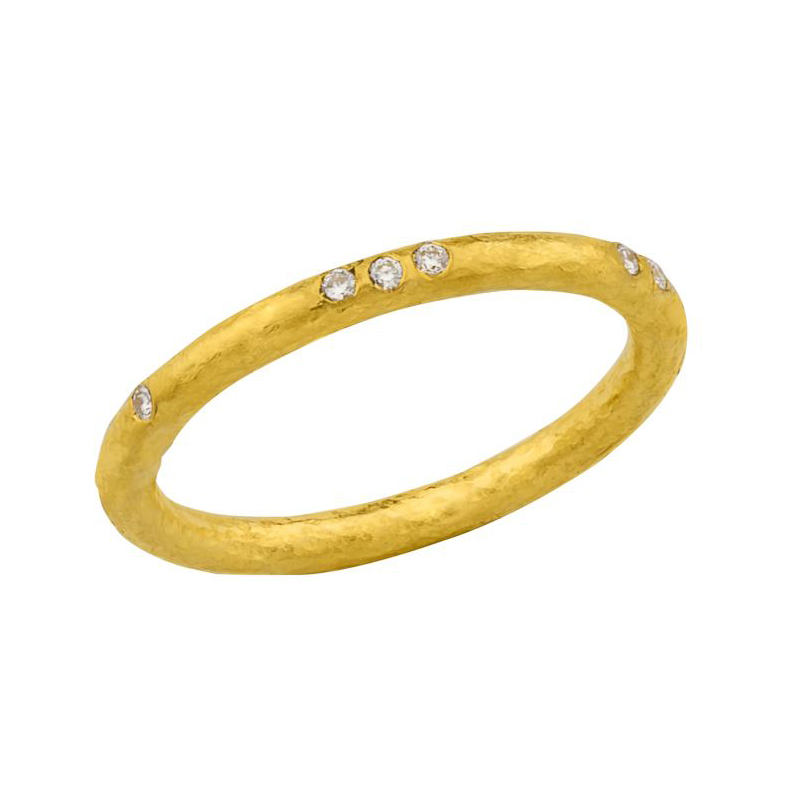 Lika Behar 24 Karat Yellow Gold Diamond Solid Band