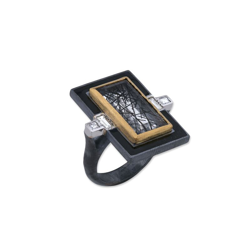 Lika Behar Two-Metal Black Tourmaline Rutilated Quartz and Diamond Ring
