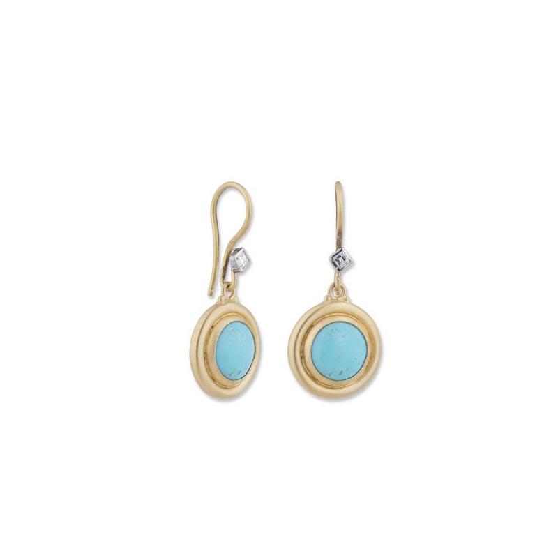 "Lika Behar Two-Metal Turquoise and Diamond ""Sunshine"" Collection Earrings"