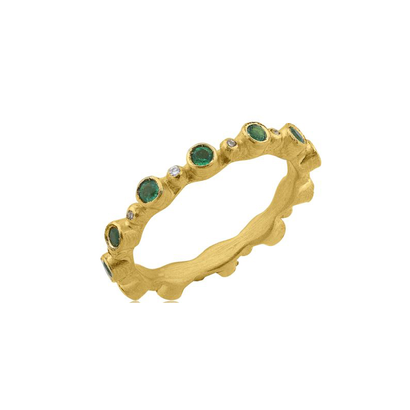 "Lika Behar 22 Karat Yellow Gold Emerald and Diamond Stackable ""Love"" Collection Band"