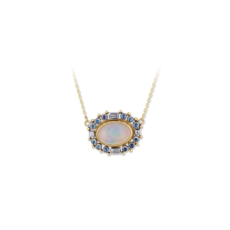 "Lika Behar Two-Metal Opal, Moonstone and Diamond ""Moondance"" Collection Necklace"