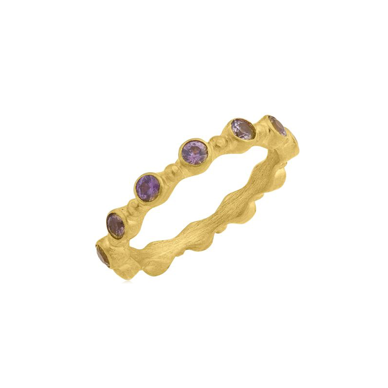 "Lika Behar 22 Karat Yellow Gold Pink Sapphire Stackable ""Love"" Collection Band"