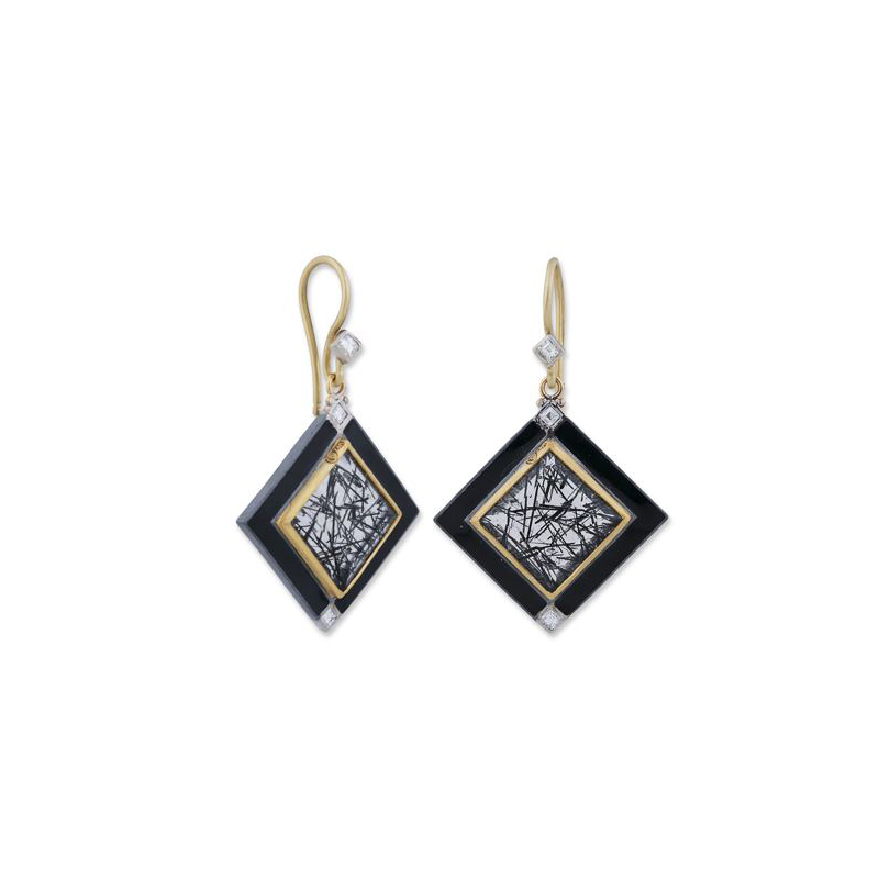 Lika Behar Two-Metal Black Tourmaline Rutilated Quartz and Diamond Earrings