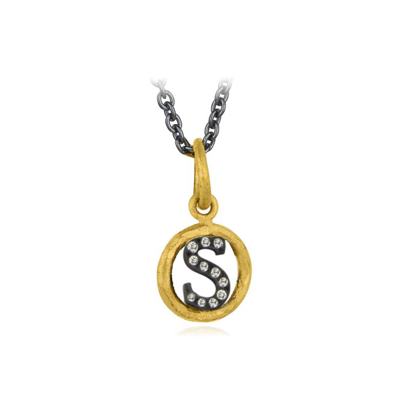 "Lika Behar Two-Metal Diamond ""S"" Initial Necklace"