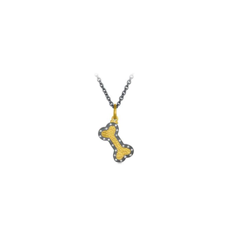 "Lika Behar Two-Metal Diamond ""Chase"" Collection Dog Bone Necklace"