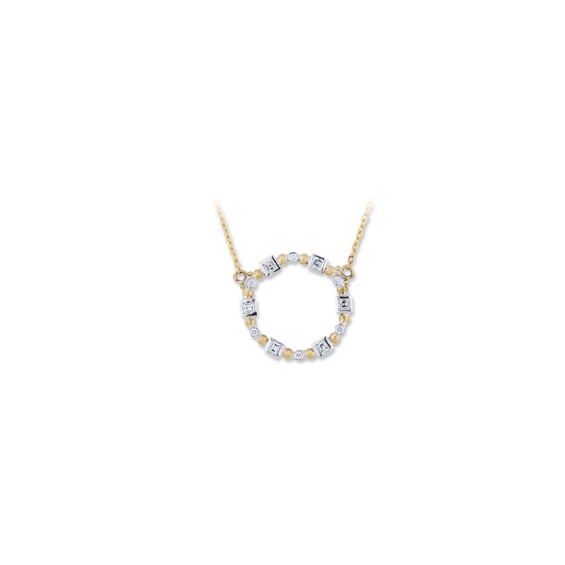 "Lika Behar Two-Metal Diamond ""Dylan Baguette"" Collection Round Necklace"