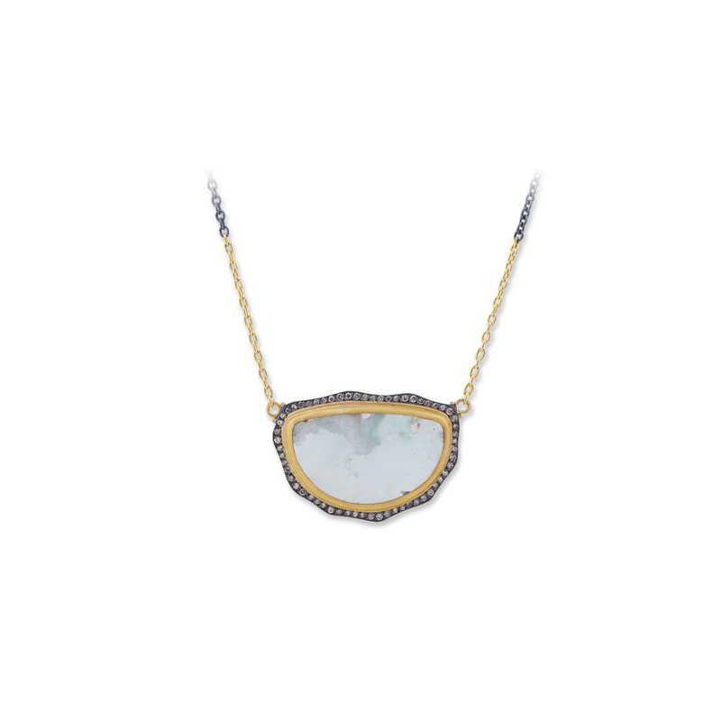 """Lika Behar Two-Metal Aquaprase and Diamond """"My World"""" Collection Station Necklace"""