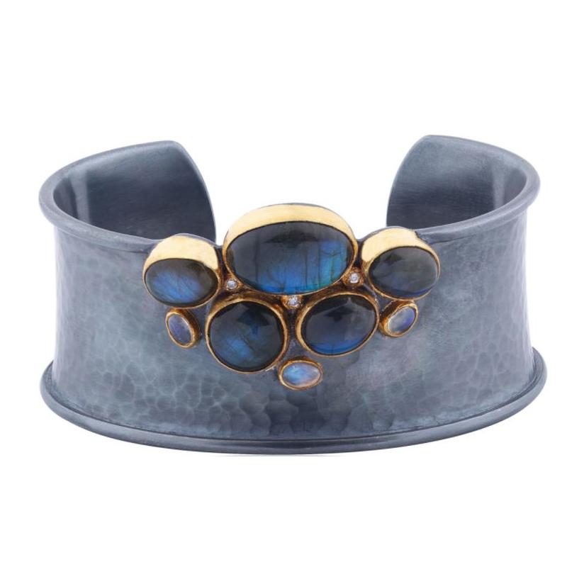 "Lika Behar ""Kristen"" Labradorite, Moonstone and Diamond Wide Cuff Bracelet"