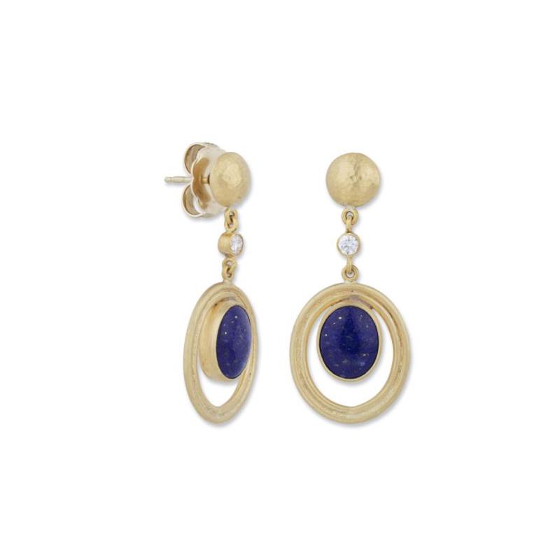 Lika Behar 22 Karat Yellow Gold Oval Lapis and Diamond Dangle Earrings