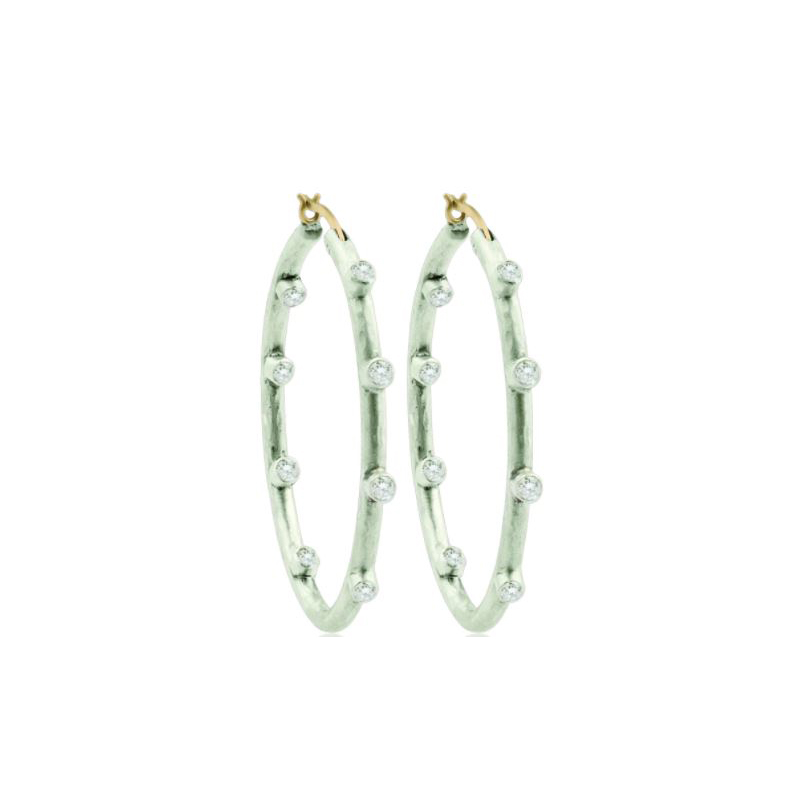 Lika Behar Sterling Silver In and Out White Sapphire Hoop Earrings