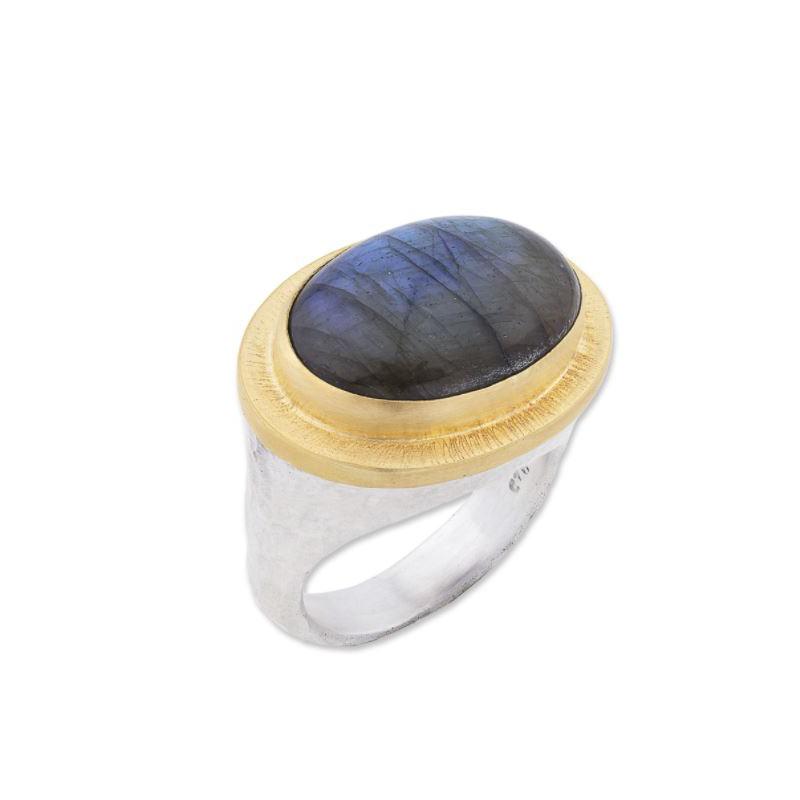 "Lika Behar Sterling Silver and 24 Karat Yellow Gold and Labradorite ""Pompei"" Ring"