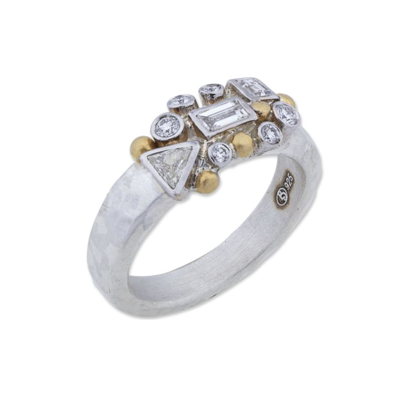 "Lika Behar Sterling Silver Diamond ""Scatter"" Ring"