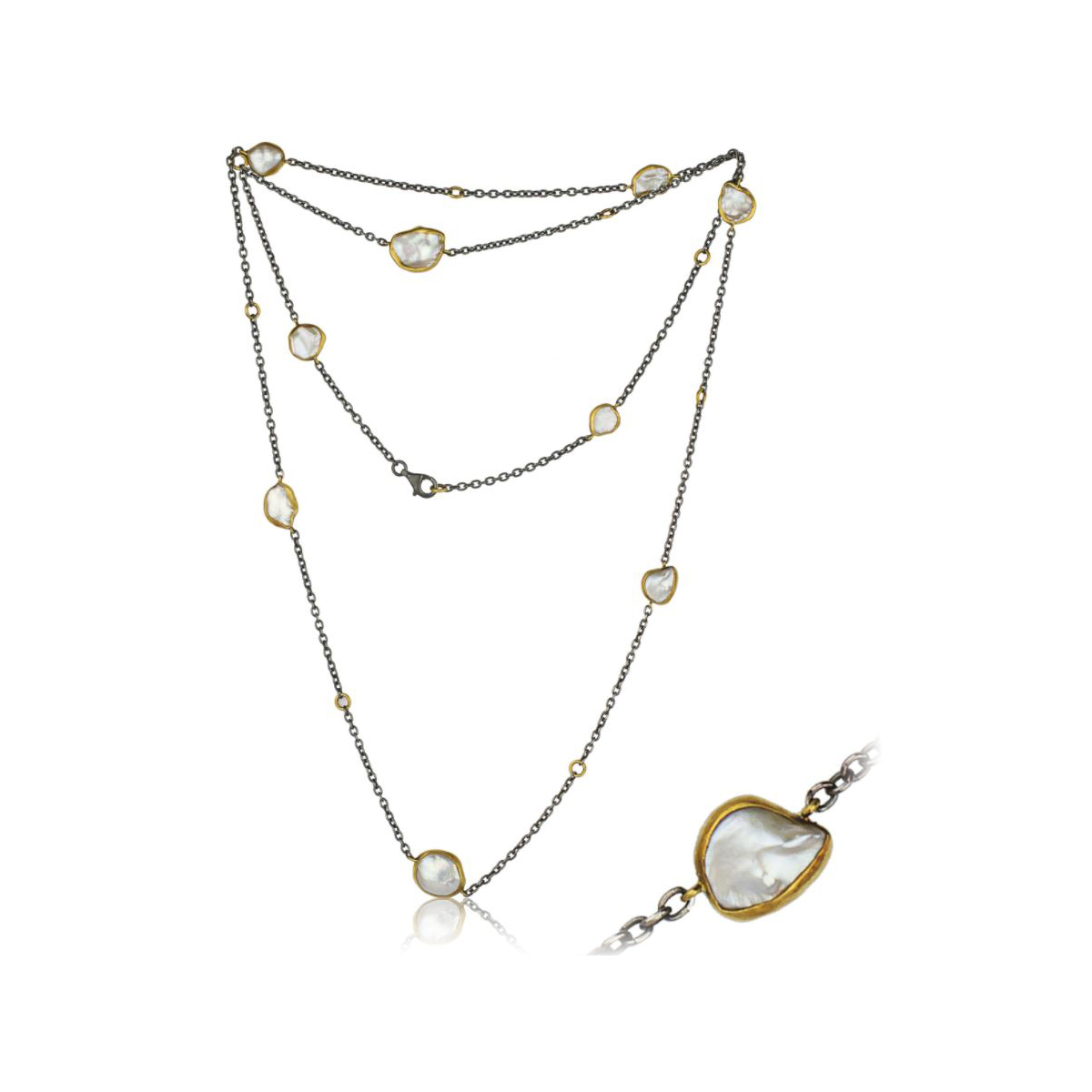 Lika Behar Oxidized Silver and 24 Karat Yellow Gold Katya Keshi Pearl Station Necklace