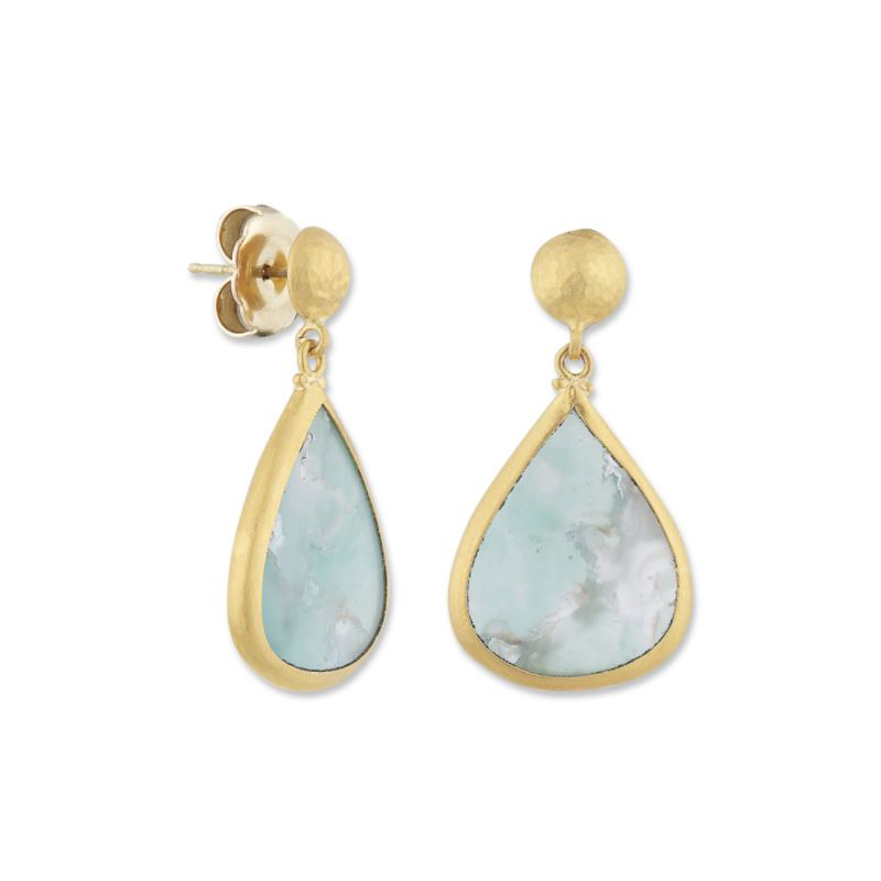 "Lika Behar 24 Karat Yellow Gold Aquaprase Dangle ""My World""  Earrings"