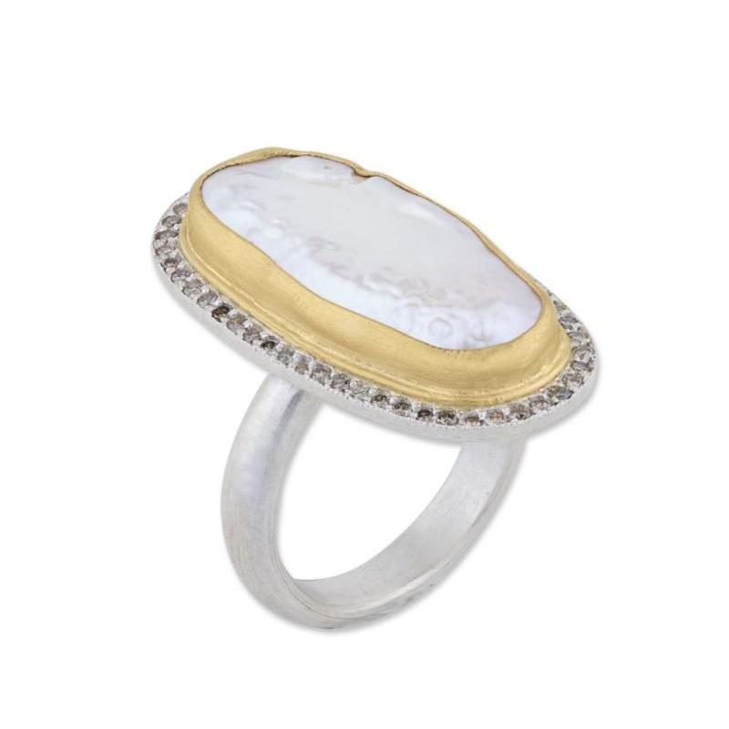 "Lika Behar 24 Karat Yellow Gold and Sterling Silver Pearl and Diamond ""Pearlita"" Ring"