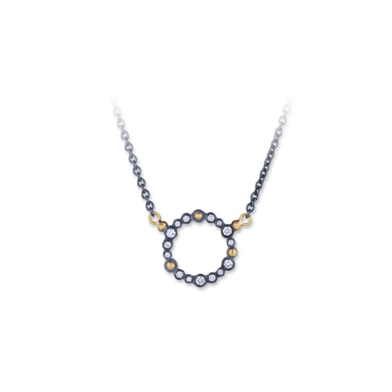 Lika Behar Oxidized Silver Dylan Diamond Round Station Necklace