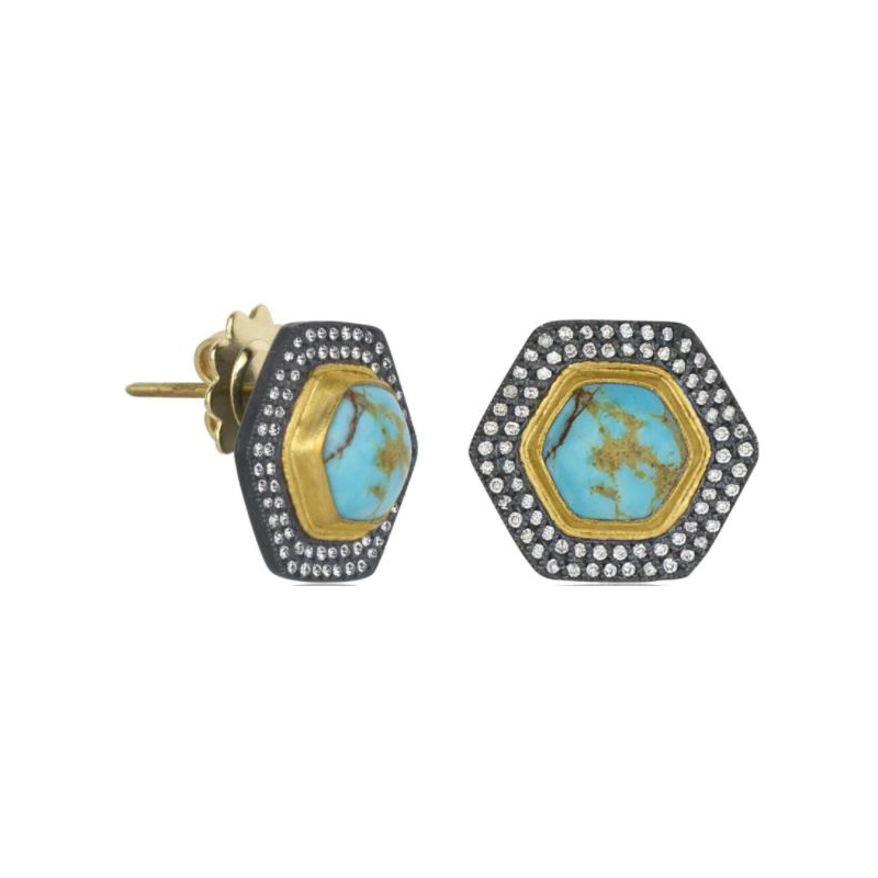"Lika Behar Turquoise and Diamond ""My World"" Stud Earrings"