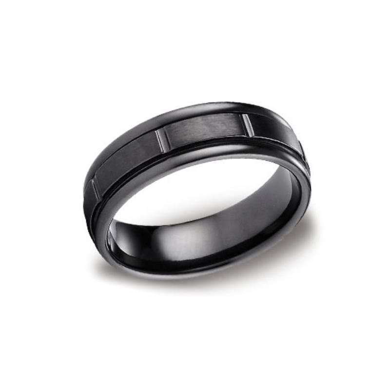 Benchmark Titanium Black Design 7mm Comfort Fit Band