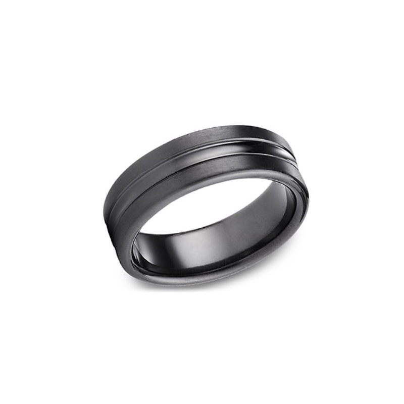 Benchmark Black Titanium 7.5mm Comfort Fit Center Convex Ring