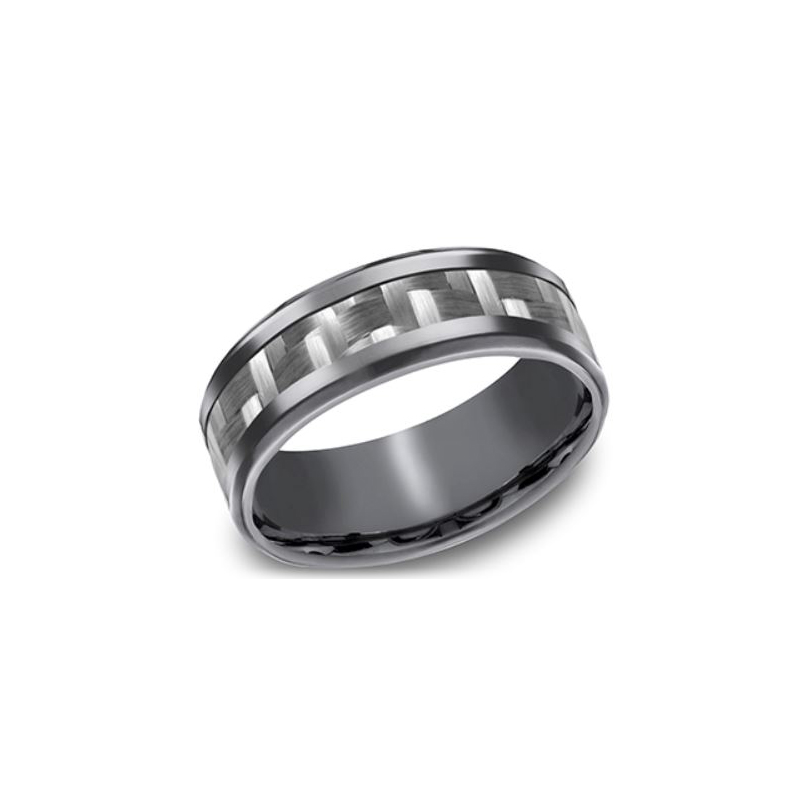 Benchmark Tantalum 8mm Band with a Carbon Fiber Center Inlay and Polished Bevel Edges