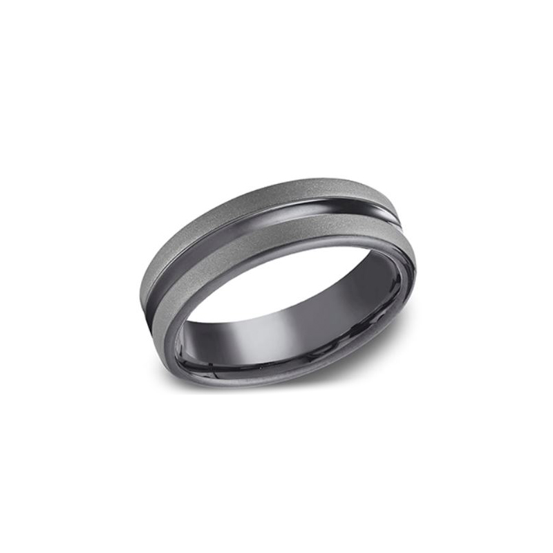 Benchmark Tantalum 6.5mm Polished Center Band with Carbon Fiber Powder Edges