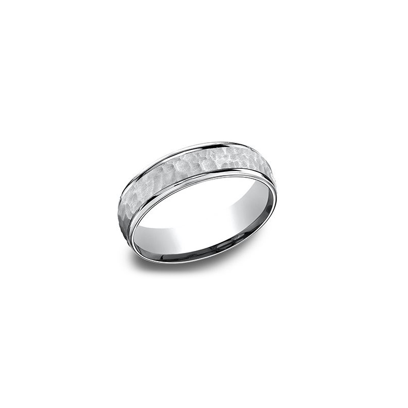 Benchmark 14 Karat White Gold 6.5mm Light Comfort Fit Hammered Band