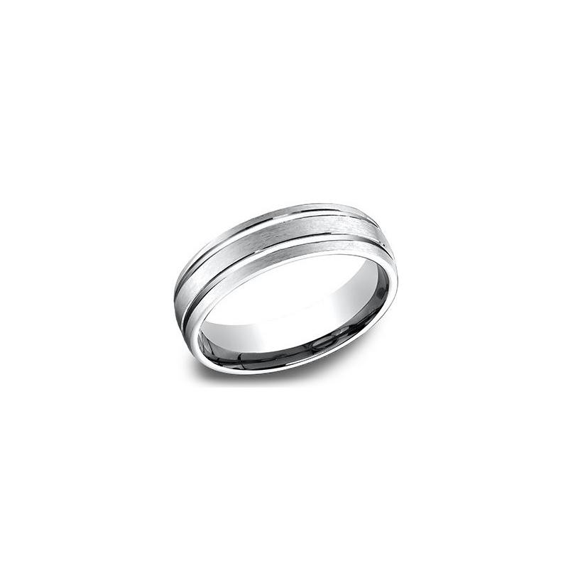 Benchmark 14 Karat White Gold 6.5mm Light Comfort Fit Satin  2 Cut Band