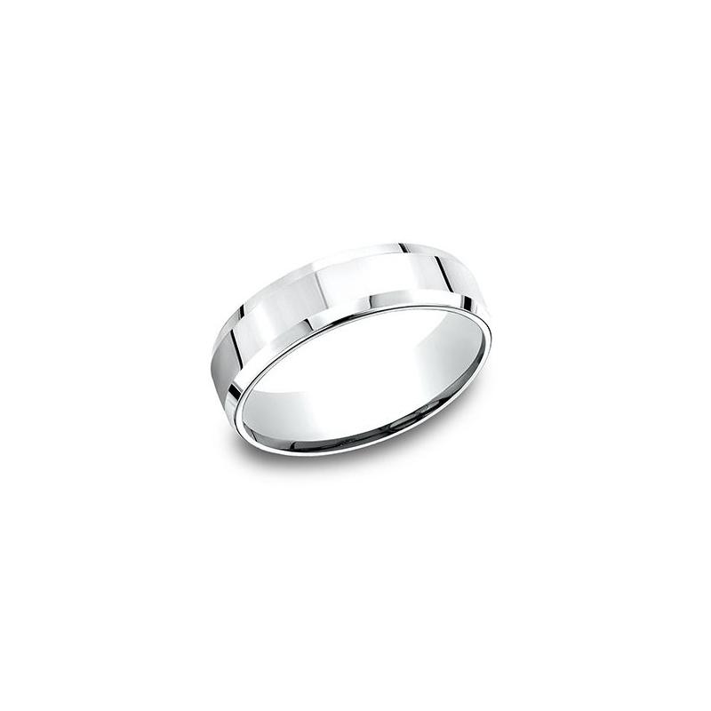 Benchmark 14 Karat White Gold 6.5mm Light Comfort Fit Polished Beveled Edge Band