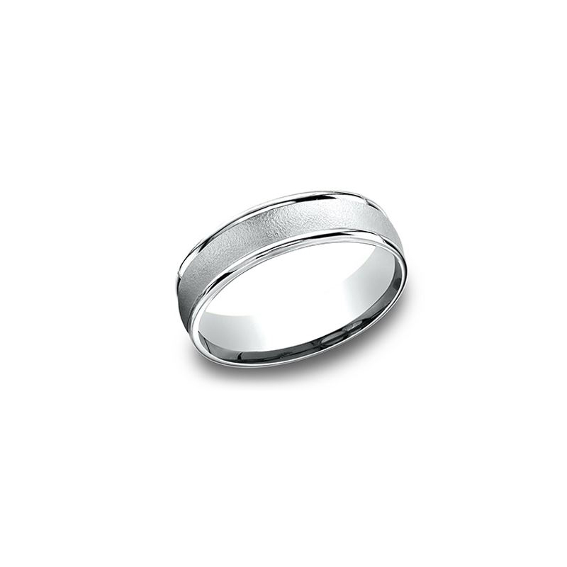 Benchmark 14 Karat White Gold 6.5mm Light Comfort Fit Wirebrushed Band