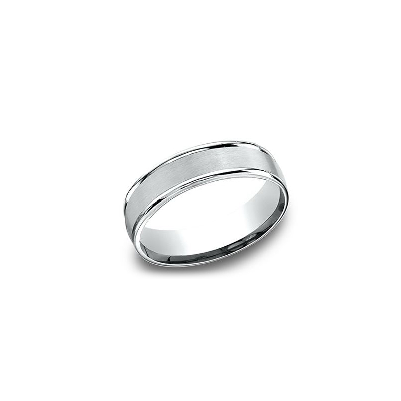 Benchmark 14 Karat White Gold 6.5mm Light Comfort Fit Satin Center Band