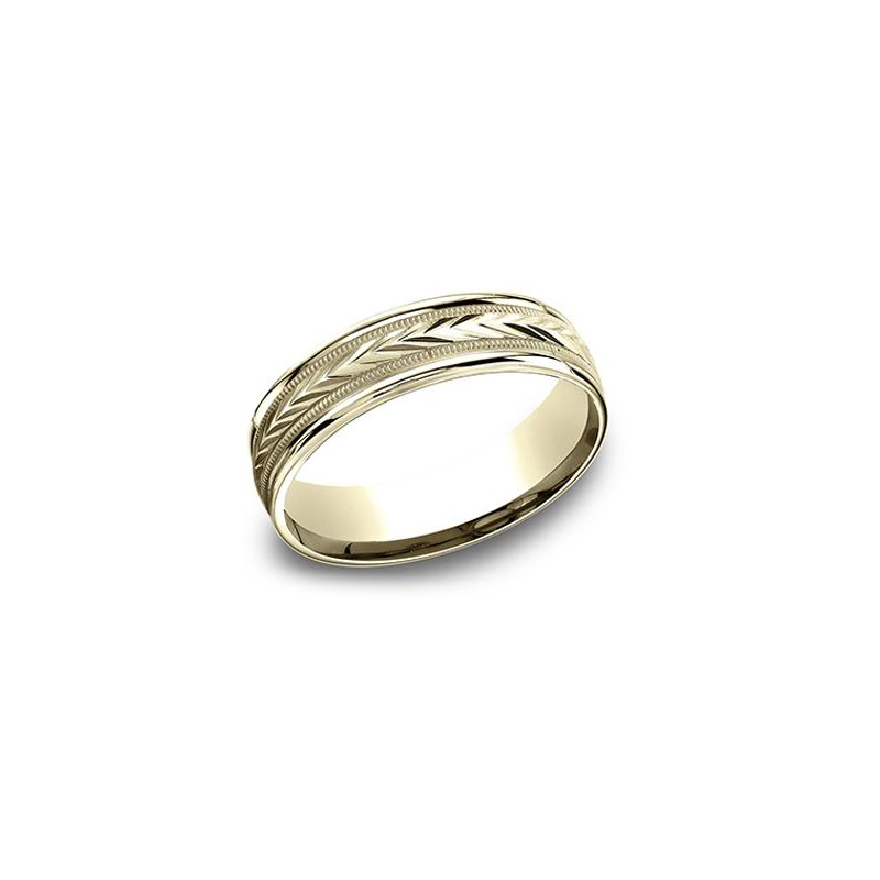 Benchmark 14 Karat Yellow Gold 6.5mm Light Comfort Fit Arrow Cut Center Band