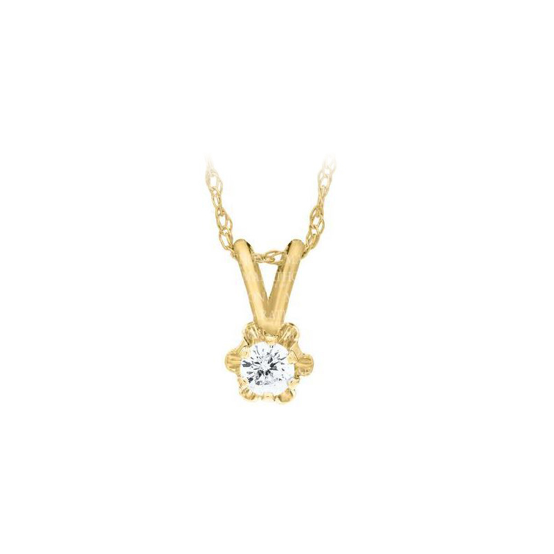 14 Karat Yellow Gold Baby Diamond Pendant Necklace