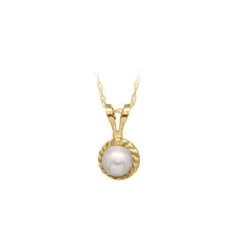 14 Karat Yellow Gold Pearl Pendant Necklace