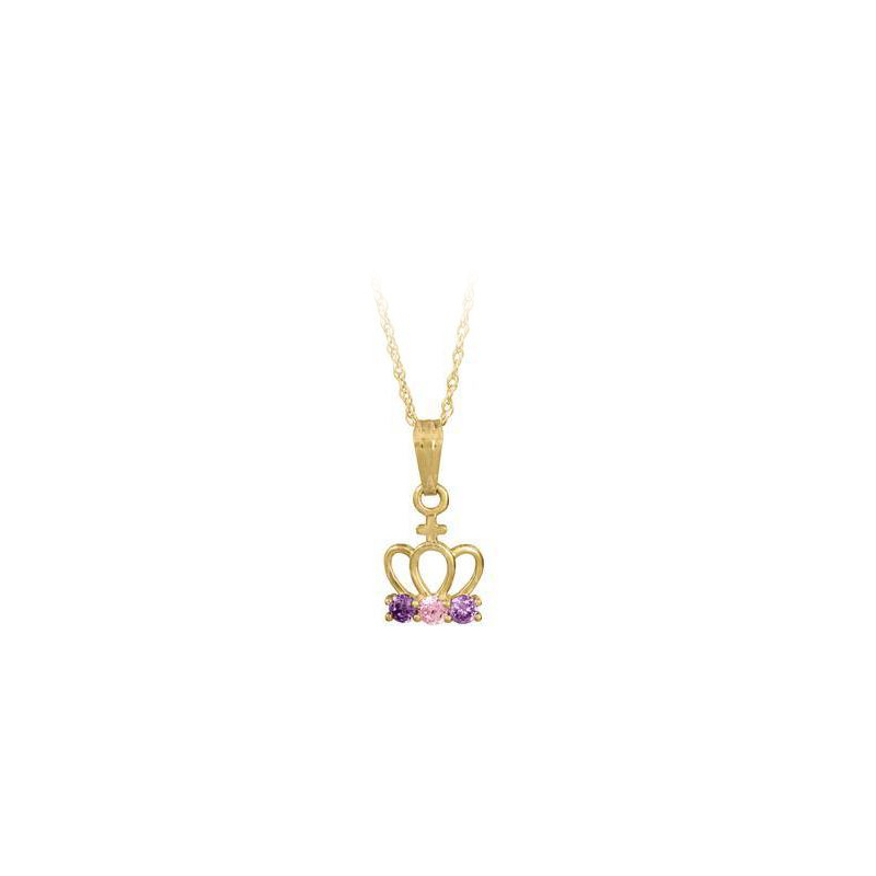 14 Karat Yellow Gold Baby Pink and Purple Cubic Zirconia Crown Pendant Necklace